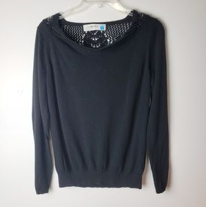 Sparrow Black Sweater with Embroidered Back Size L